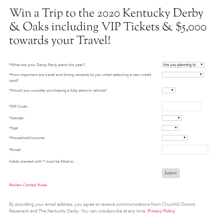 Kentuckyderby.com Derby sweepstakes